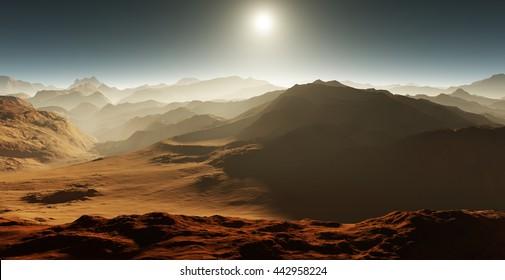 Dust storm on Mars. Sunset on Mars. Martian landscape. 3D rendering