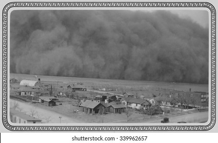 Dust Storm in Rolla, Kansas. May 6, 1935. The photo was sent to President Franklin Roosevelt this note, 'Dear Mr. Roosevelt, Darkness came when it hit us. Picture taken from water tower one hundred fe