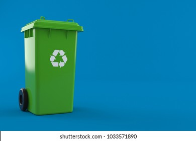 Dustbin isolated on blue background. 3d illustration