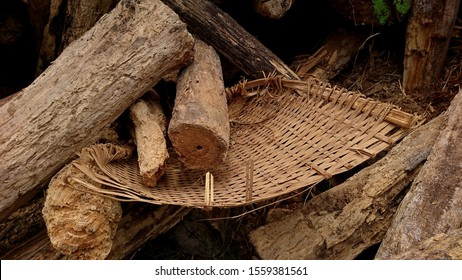 The dustpan of woven bamboo was crushed by a pile of rotten logs