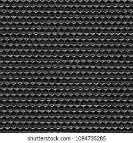 Dusty black grid of audio amplifer. Seamless texture.