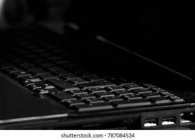 dusty black laptop keyboard