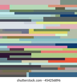 Dusty and Bright Multicolor Pixel Strips in Teal, Oranges, Pinks, Greens, Grays