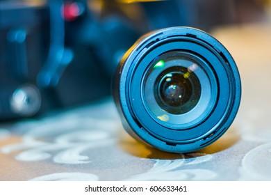 Dusty camera lens