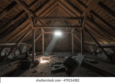 Dusty creepy attic of the old building