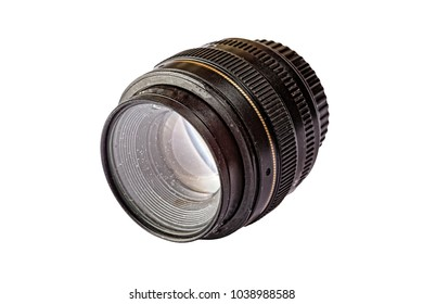 Dusty and dirty lens for a digital camera. Isolated on white