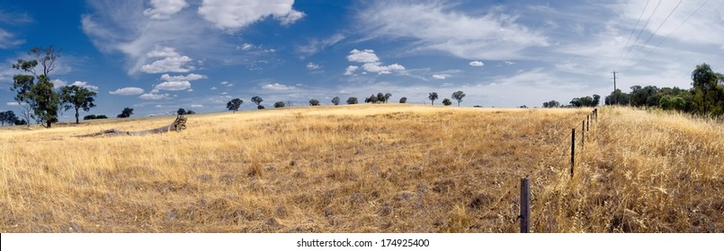 dusty dry farmland in australia during summer