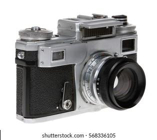 "Dusty old Soviet camera ""Kiev 4a"" on the white background"