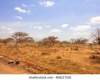 Dusty road to Kilimanjaro. Mombasa-Moshi road