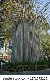 Dusun Bambu Lembang,Bandung. Indonesia. Taken on September 2018.The monument of bamboo is a landmark of Dusun Bamboo.