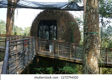 Dusun Bambu Lembang,Bandung. Indonesia. Taken on September 2018. The unique architecture and design for bird-nest like hut in Dusun Bamboo.