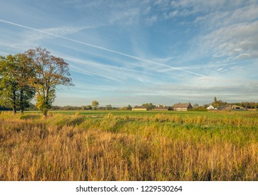 Dutch agricultural landscape in the autumn season. The photo was taken at the edge of the village Gilze in North Brabant.