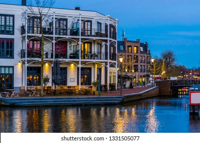 Dutch apartments with balconies at the water, City Alphen aan den Rijn, The Netherlands