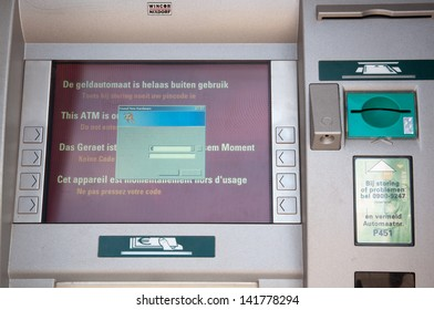 A Dutch ATM of the ABN-AMRO bank is out of order