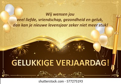 Dutch happy birthday greeting card congratulations stock dutch birthday greeting card for friends colleagues and boss we wish you love m4hsunfo