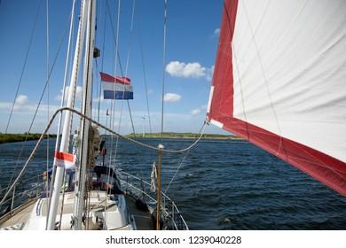 dutch boat with flag