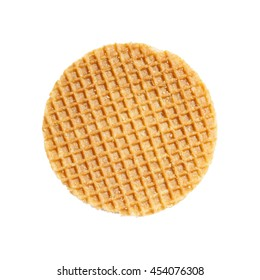 dutch caramel waffle isolated on white background