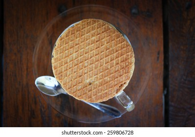 Dutch Caramel Waffle On Top Of A Cup Of Coffee