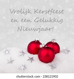 Cora muellers new year set on shutterstock dutch christmas card with red christmas tree balls and text merry christmas and a happy new m4hsunfo
