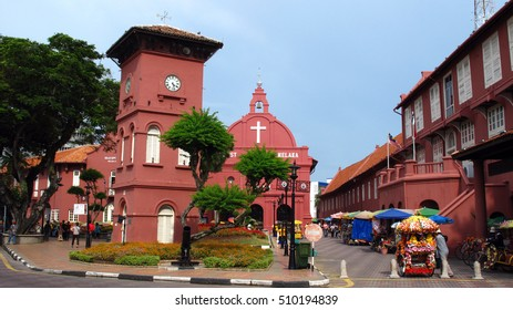 Dutch Clock Tower and Christ Church in Melaka, Malaysia