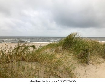 Dutch coastal landscape with North sea, beach, sand, sky, clouds and grass on a cloudy day.