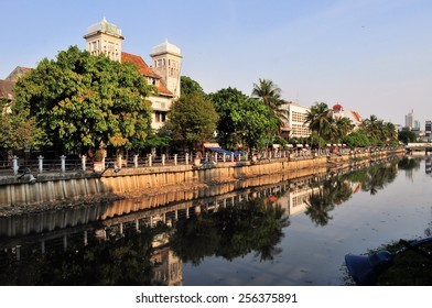 Dutch colonial architecture along a canal in Kota, Jakarta, Indonesia