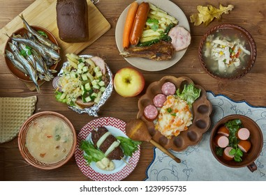 Dutch cuisine, Traditional assorted dishes, Top view.