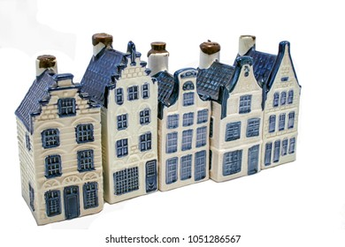 Dutch Delft blue houses in a row
