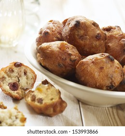dutch dough nut with raisins traditionally eaten with new years eve served in a bowl