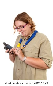 Dutch female scout with gps navigation over white background