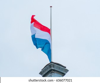 Dutch Flag Red White Blue Half stick for the remembrance of the fallen in the second world war on may 4th.