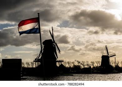 Dutch Flag at Zaanse Schans/ Netherlands/ contrast