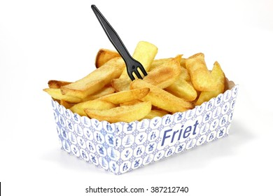 Dutch fries in cardboard container isolated on white background (translation: fries)