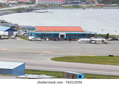 Dutch Harbor, Unalaska, Alaska, USA - August 14th, 2017: A SAAB 2000s aircraft of Pen Air at Tom Madsen, Dutch Harbor, Unalaska.