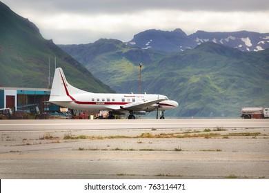 Dutch Harbor, Unalaska, Alaska, USA - August 14th, 2017: A Convair 580 of Honeywell Flight Test at Tom Masden Airport, Unalaska, Alaska.