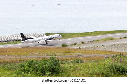 Dutch Harbor, Unalaska, Alaska, USA - August 14th, 2017: A SAAB 2000s aircraft of Pen Air is taking off at Tom Madsen, Dutch Harbor, Unalaska.