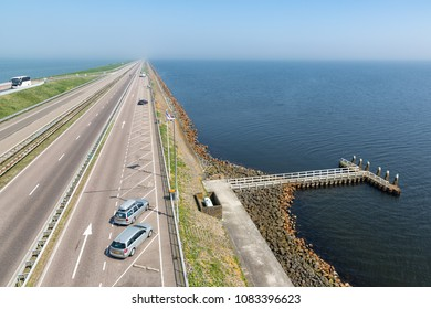 Dutch highway at the afsluitdijk. The dike is the connection between Friesland and Noord-Holland and seperates the Waddensea from the IJsselmeer