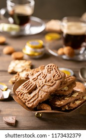 Dutch holiday Sinterklaas traditional sweets gingerbread cookies, speculaas koekjes, st. Nicolas day concept on december the fifth .