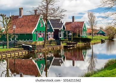 Dutch house with bridge and creek in Zaanse Schans, The Netherlands