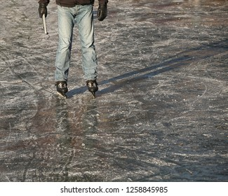 Dutch ice skater standing on ice