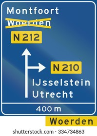 Dutch information sign - Diversion with alternative route shown.