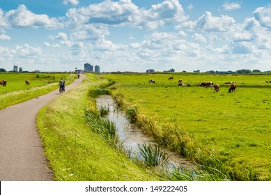 Dutch landscape with bicyclists and cows