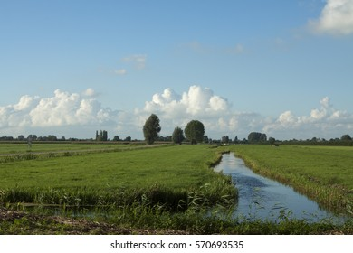 Dutch landscape with river and green meadow in blue sky with clouds