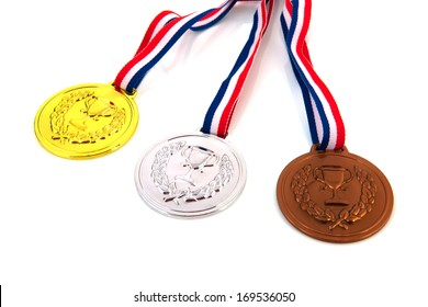 Dutch medals in gold, silver and bronze isolated over white background