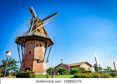 Dutch mill replica in Holambra, Brazil. Holambra is the major flower production and dutch immigrant citizens in Brazil.