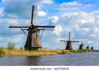 Dutch mills in Kinderdijk, South Holland