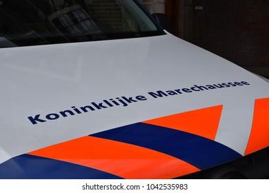Dutch miltary police car close up