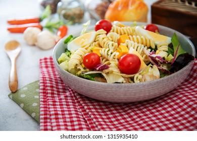 Dutch Mimolette egg pasta salad