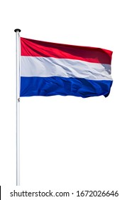 Dutch national flag of the Netherlands on flagpole flying in the wind against white background