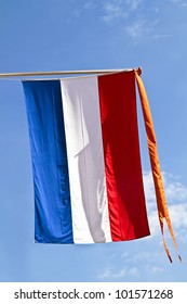 The dutch national symbol, the flag with orange streamer from the Netherlands